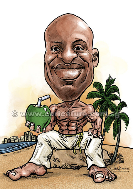 Capoeira digital caricature at Copacabana beach in Rio de Janeiro (watermarked)