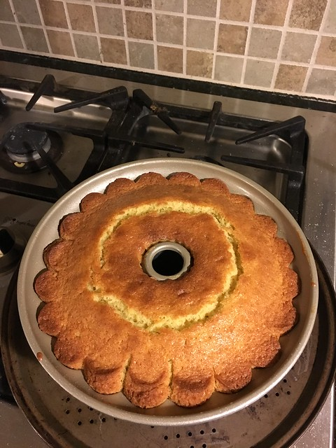Bundt, after baking