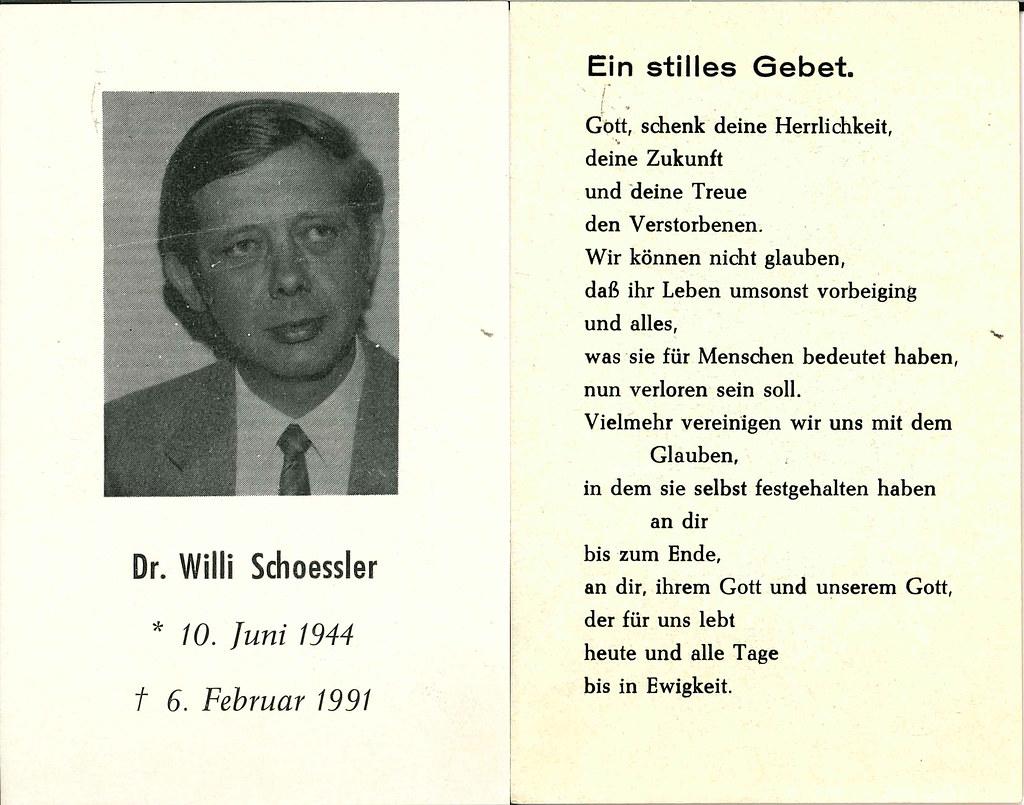Totenzettel Schoessler, Willi † 06.02.1991