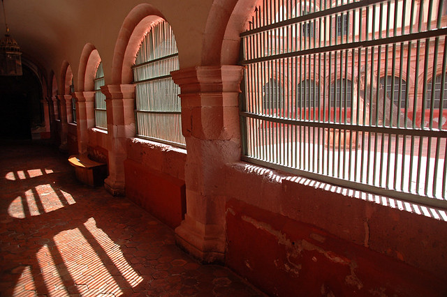 Interior of the former San Franciscan convent with its terracotta walls with arched windows in Guadalupe, Mexico