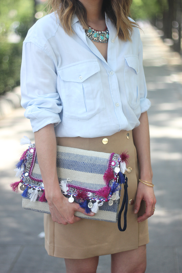 Beige Skirt With Blue Shirt12