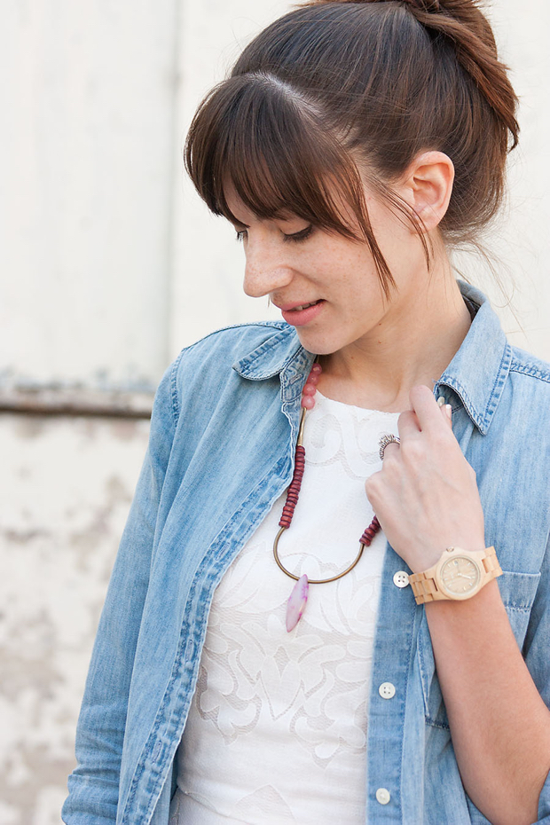 Jord Watch, History and Industry Necklace, White Dress, Chambray shirt
