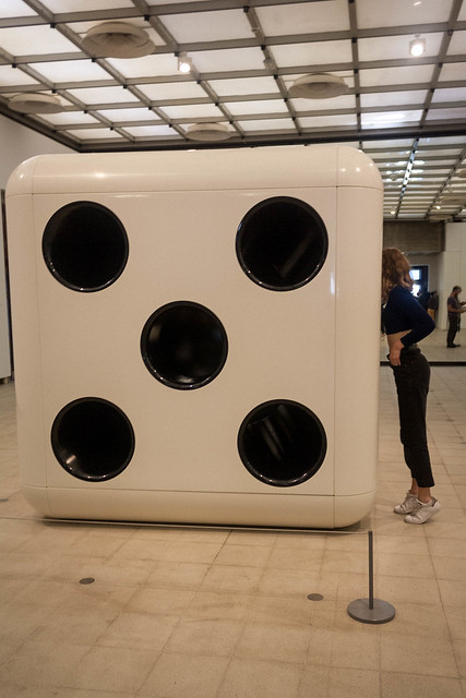 "Giant dice at the ""Decision"" exhibition, London"
