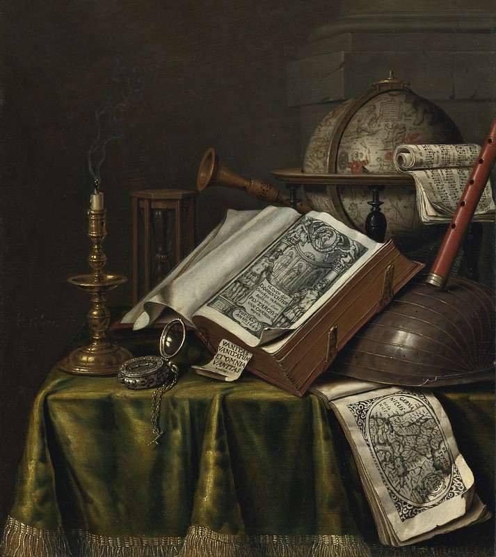 Edwaert Collier - Vanitas still life with a candlestick, books, musical instruments, an astrological globe, a Pocket Watch, and an hourglass all on a draped table