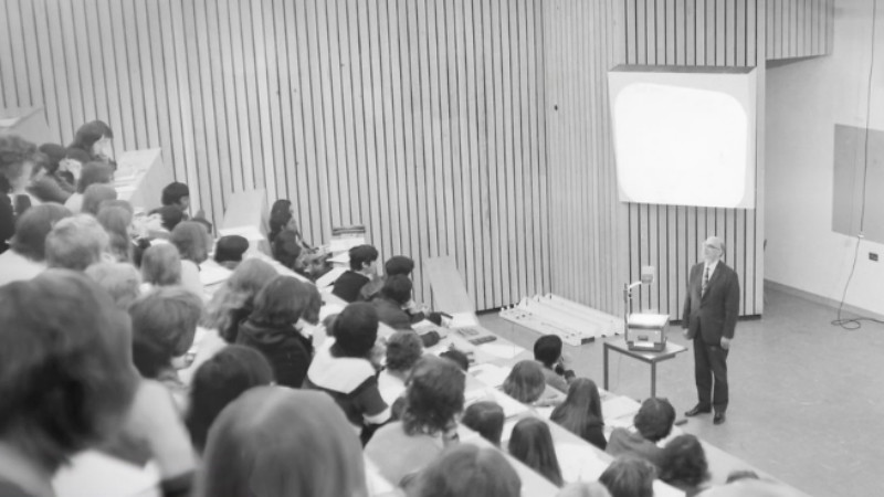 An archive image of a lecture