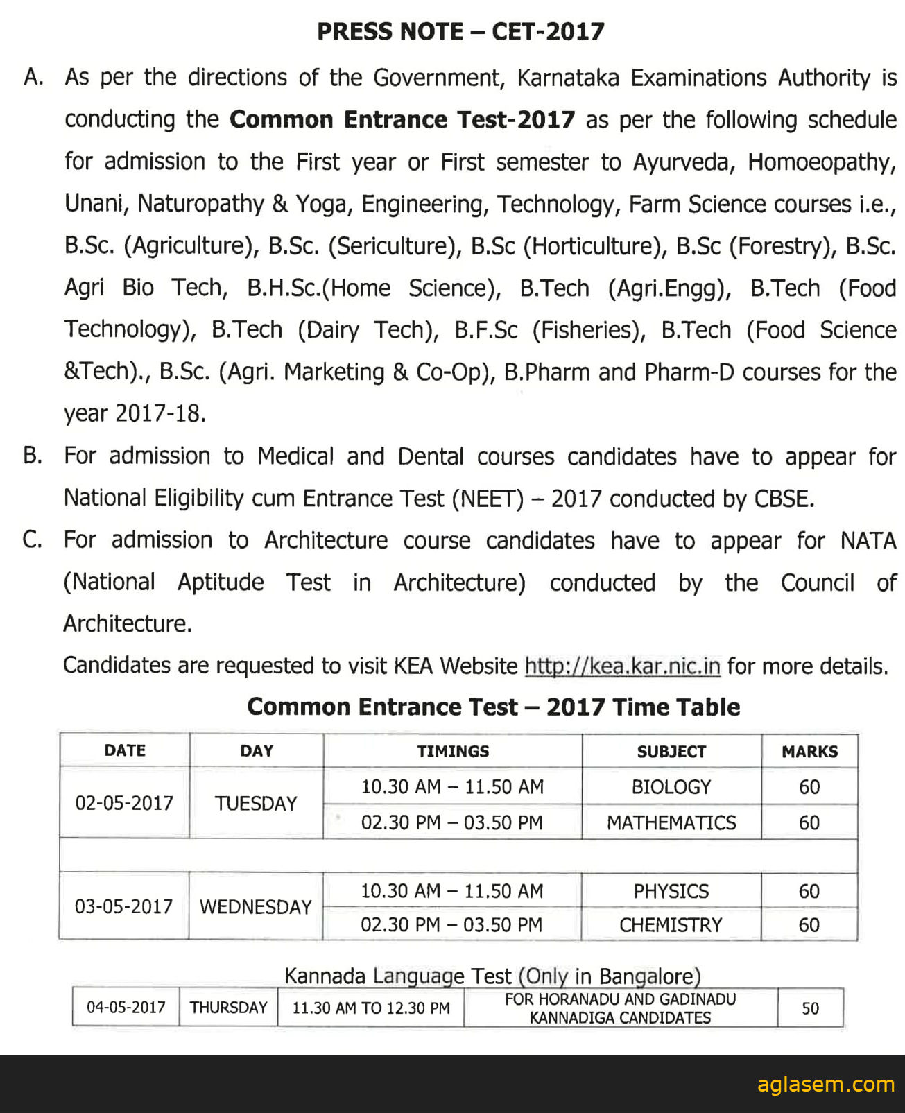 KCET Application Form 2017 Notification