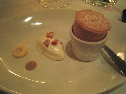 Caramel soufflé with white chocolate quenelle, praline and banana | by In Praise of Sardines