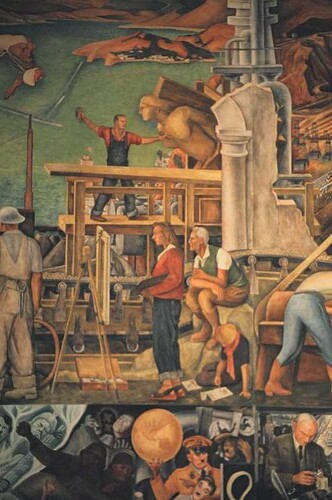 Pan american unity mural detail artists diego rivera for City college of san francisco diego rivera mural