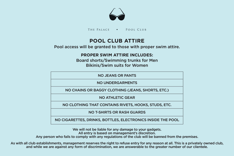 The Palace Pool Club Bgc Experience Dress Code Entrance