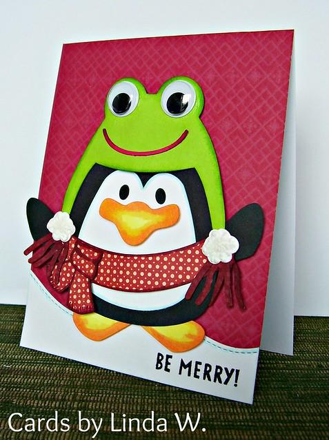Merry Penguin in Frog Cap