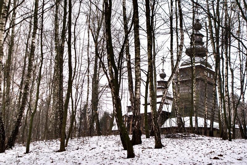 Musée ethnographique de Lviv (Ukraine) sous la neige.