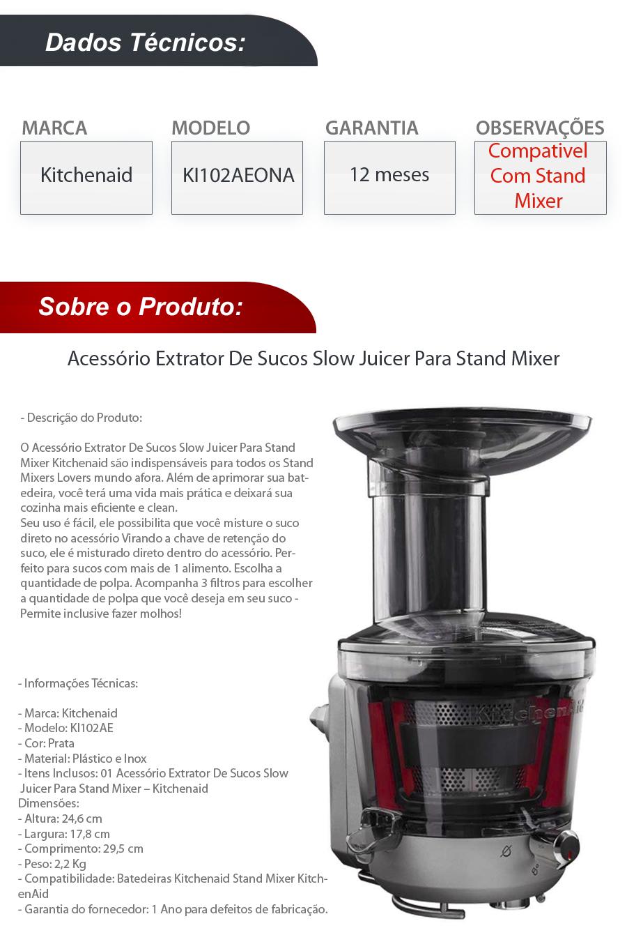 Omega Juicer Extrator De Sucos Slow Juicer : Acessorio Extrator Sucos Slow Juicer Stand Mixer Kitchenaid - R$ 849,90 em Mercado Livre