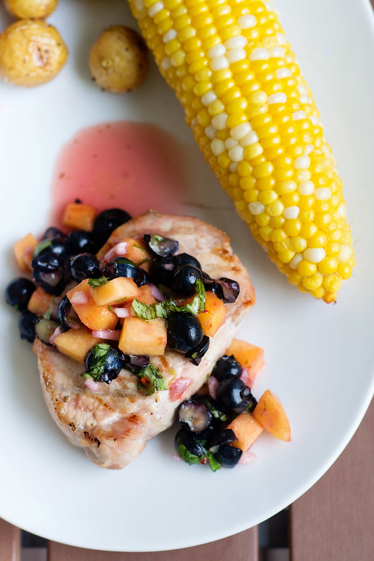 Grilled Pork Chops with Blueberry Peach Salsa - Cook Like ...