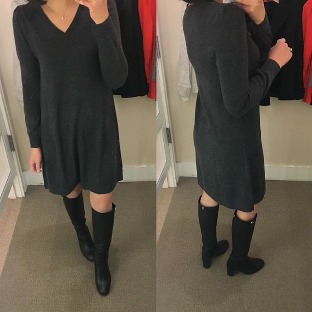 LOFT V-Neck Swing Sweater Dress, size XSP