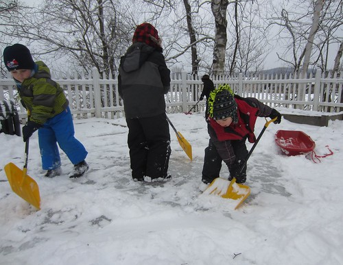 clearing off the ice