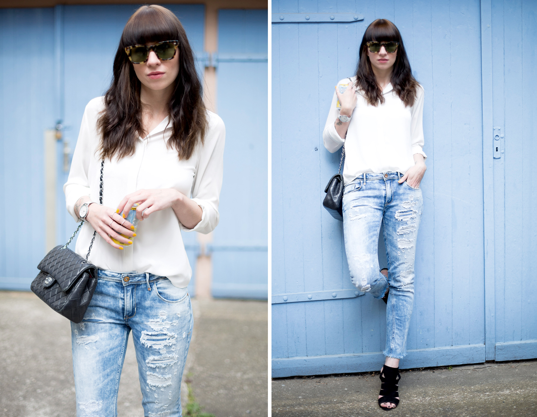 blue ripped jeans le temps des cerises chanel double flap bag white blouse sacha heels gucci sunglasses blog blogger cats & dogs ricarda schernus fashion berlin 1