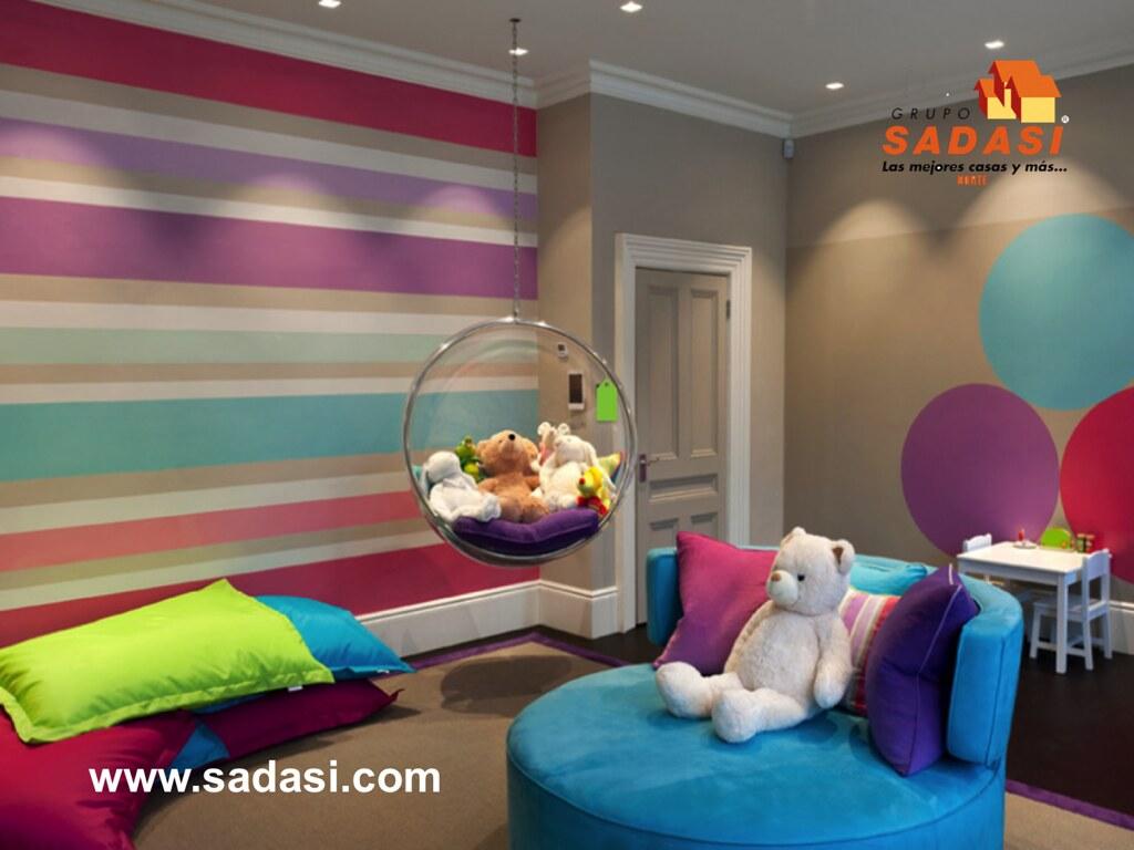 Grupo sadasi le muestra una habitaci n con vida para sus n - Habitaciones infantiles pintadas a rayas ...