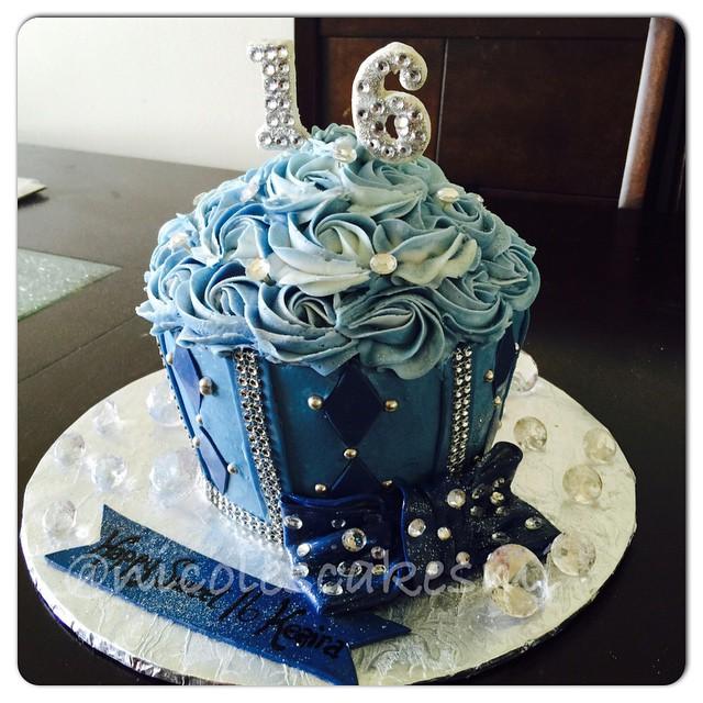 Denim and diamonds Sweet 16 large cupcake. #nicolescakesmi ...
