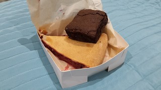GF Chocolate Strawberry Brownie from Smith & Deli; GF Apple and Rhubarb Pie from Fatto a Mano