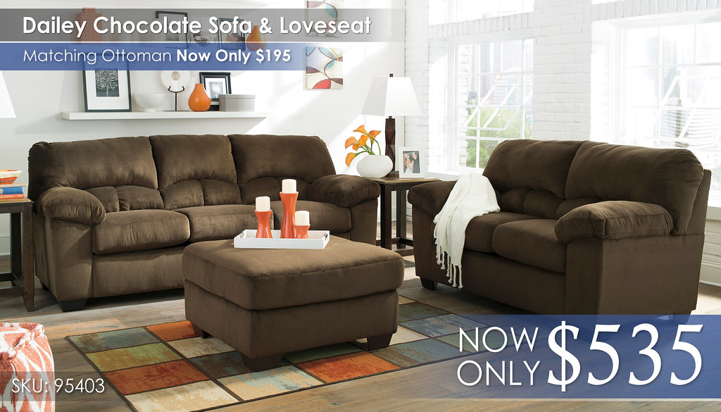 Dailey Chocolate Sofa & Loveseat 95403