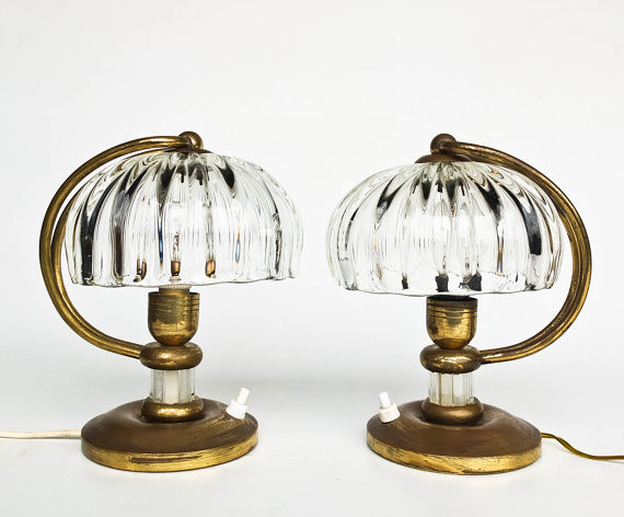 Mid Century Table Lamp Pair / Mushroom Bedside Lamps / 50s Italy / Brass & Glass