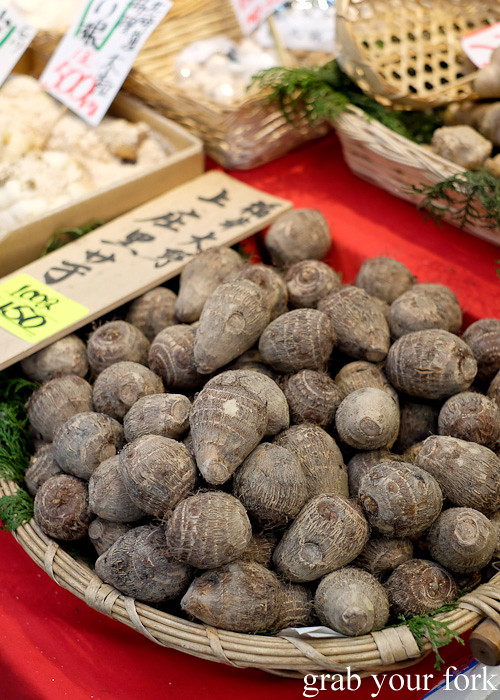 Mountain yams at Kuromon Ichiba Market in Osaka, Japan