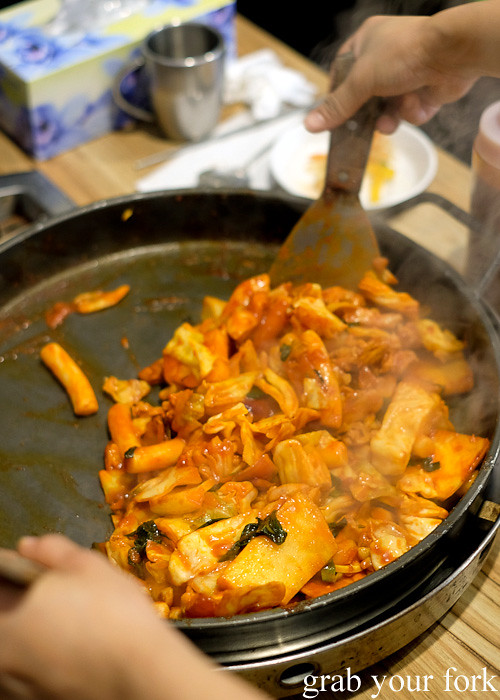 Pr korean restaurant lidcombe grab your fork a sydney food blog cooking dakgalbi spicy chicken bbq at pr korean restaurant lidcombe forumfinder Choice Image