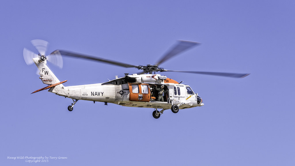 Naval Air Station Whidbey Island SAR 165758 Sikorsky MH-60S Knighthawk (Seahawk) performing an extraction demonstration during it's Open House and EA-6B Prowler Sundown Ceremony on 06.27.2015