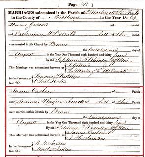 James Casbon Susanna Sanders marriage 1834