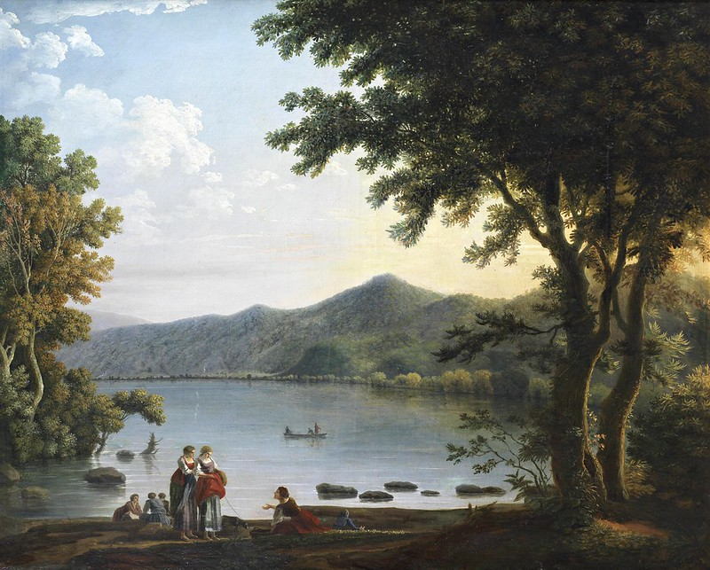 Carlo Labruzzi - Washerwomen conversing before a lake in an Italianate landscape