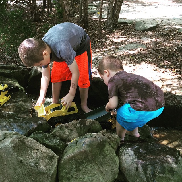 Fun times playing in the creek at Web Bridge Park! #alpharetta #fultonga #atl #atlanta #igersga #igersatl #igersatlanta #igersgeorgia #brothers #fun #outdoors #parks #georgia #myboys #boymom #webbbridgepark #discovergeorgia