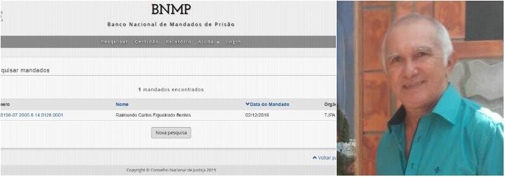 Nome de ex-prefeito é incluído no banco nacional de mandados de prisão, banco de mandados e Carlinhos