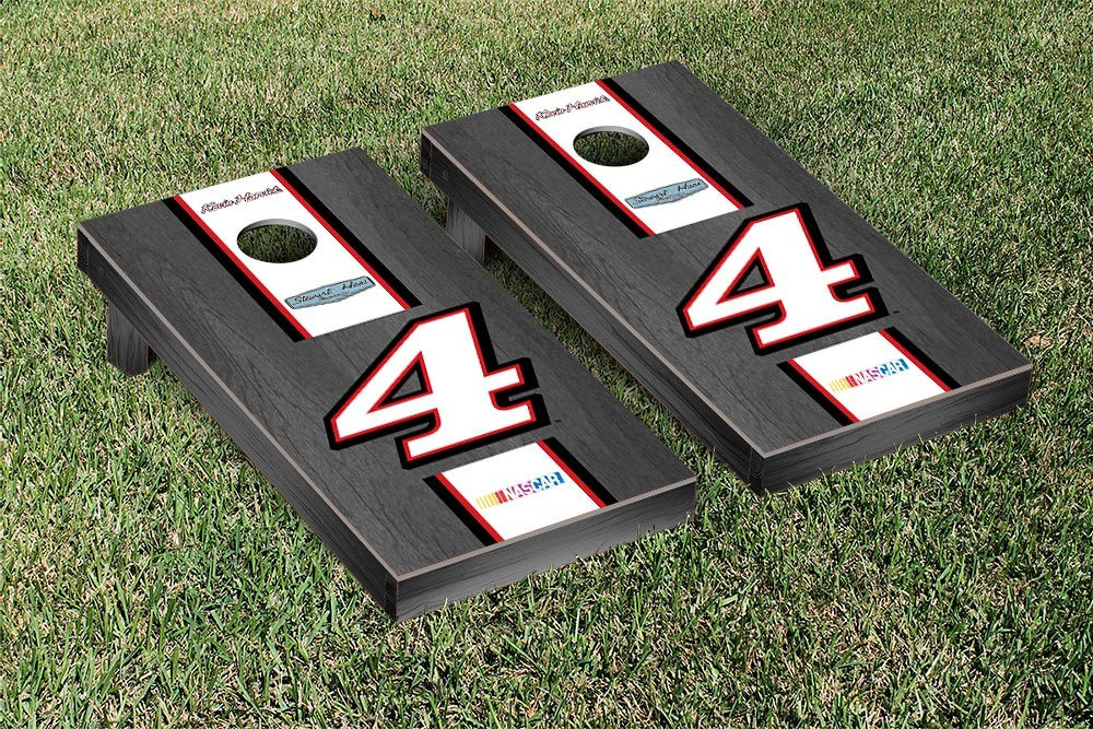 KEVIN HARVICK #4 CORNHOLE GAME SET ONYX STAINED WHITE STRIPE VERSION