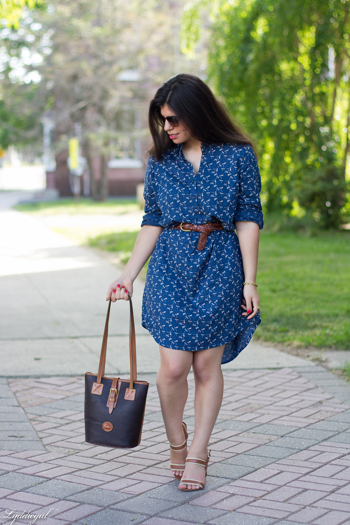dragonfly print shirtdress, leather tote, sandals-2.jpg