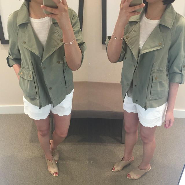 LOFT Drapey Cargo jacket in light matcha green, size XS regular