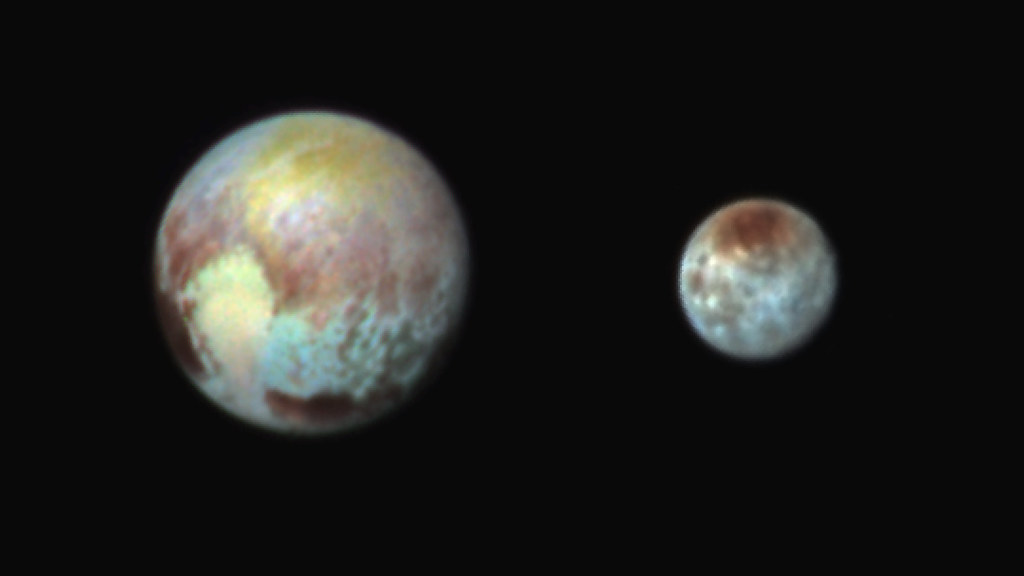 Charon Moon: Pluto And It's Moon Charon Shine In False Color