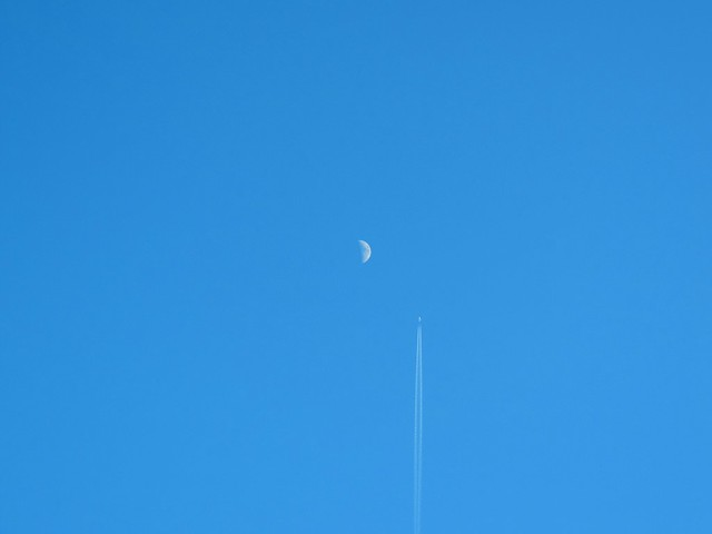 Flying past the moon
