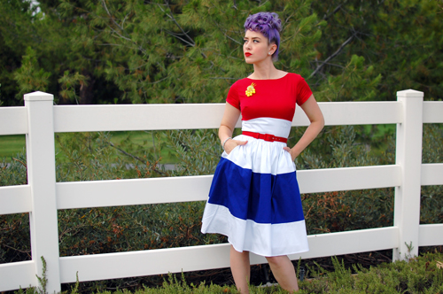 Pinup Girl Clothing Amanda Dress in Red White and Royal Blue