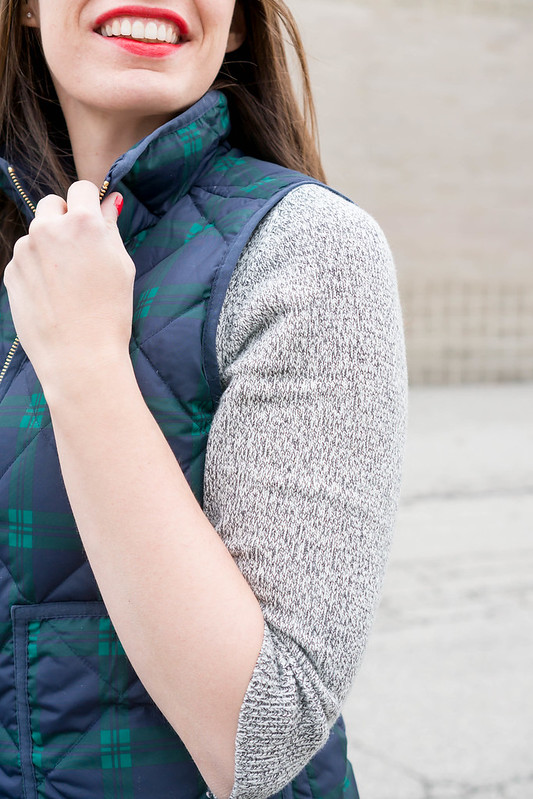 blue green plaid J.Crew vest + gray sweater dress Loft + black tights + black chelsea boots J.Crew; casual winter outfit | Style On Target blog