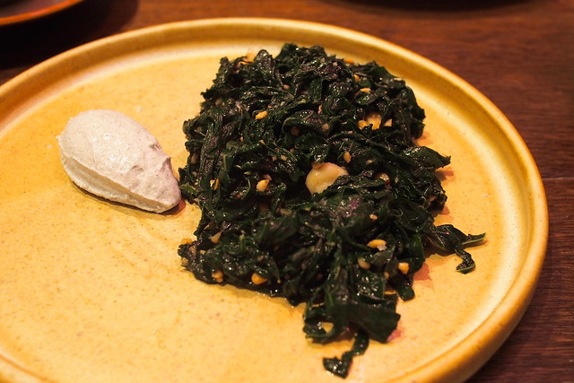 kale (nori, cheese, nuts, burnt butter). Drew Nocente, Salted and Hung, Purvis Street, Singapore