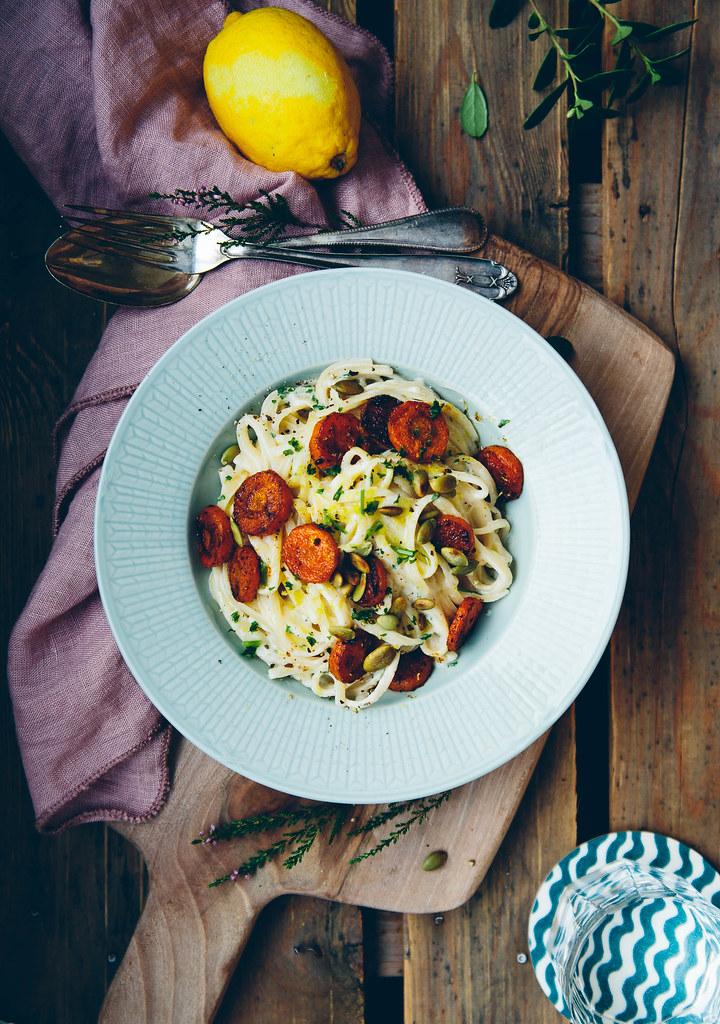 Linguine with Cashew Alfredo Sauce & Carrot Chorizo | v + gf | Cashew Kitchen