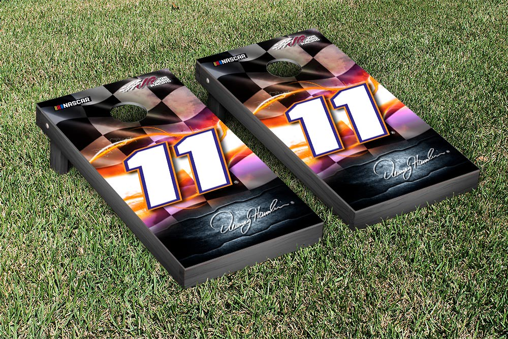 DENNY HAMLIN #11 CORNHOLE GAME SET NIGHT LIGHTS VERSION (1)