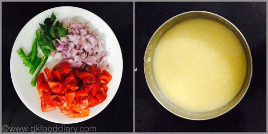 Tomato Gotsu with moong dal - preparation step