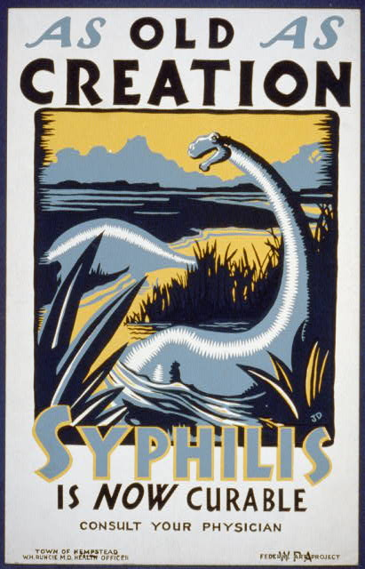 As old as creation Syphilis is now curable : Consult your physician. [New York] : WPA Federal Art Project, [1936 or 1937] Work Projects Administration Poster Collection (Library of Congress).