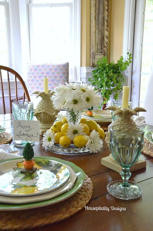 Lemons and Daisies Tablescape-Housepitality Designs