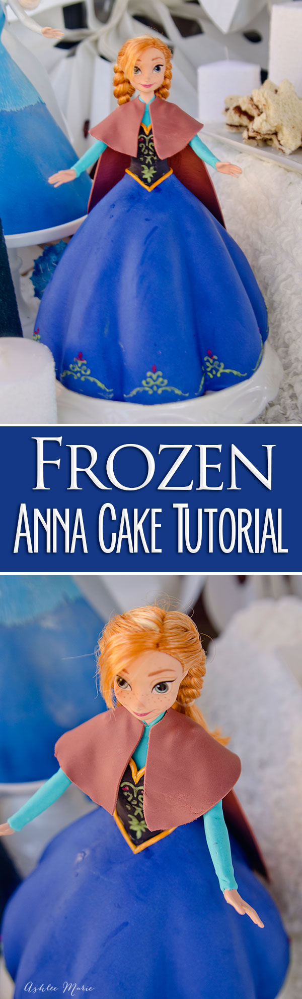 make your own princess anna cake with this full tutorial, the perfect centerpiece for your frozen birthday party