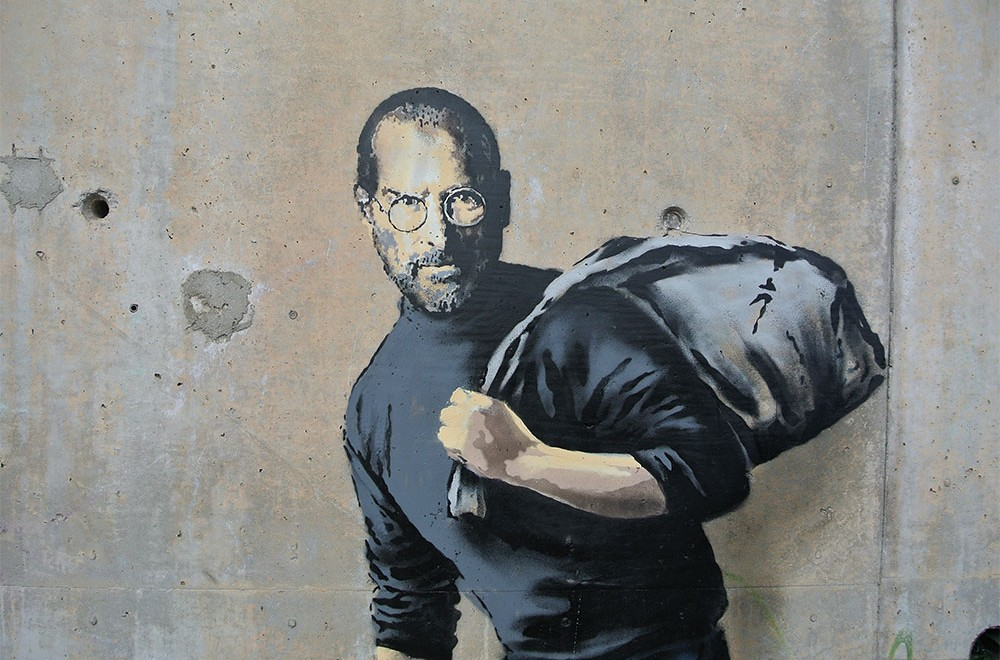 steve jobs at sangatte by  banksy  apple
