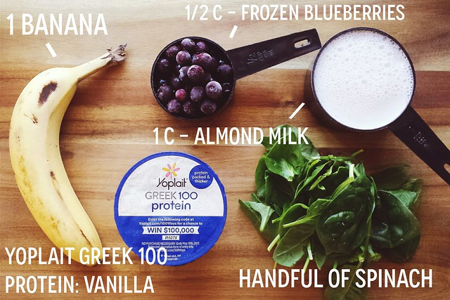greek yogurt 52 ways: # 37 blueberry, spinach smoothie