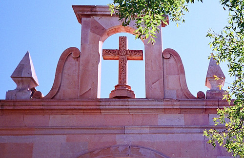 The cross of a church built of the pink stone found in Zacatecas, Mexico
