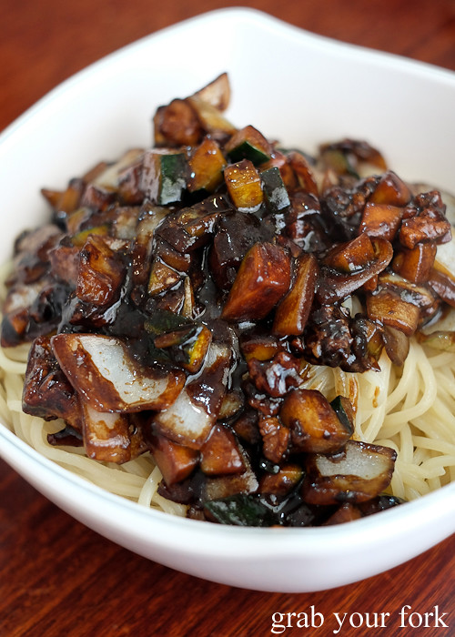 Black bean pork and onion on top of noodles - Jajangmyeon Korean Chinese bean noodle at Yang Tz River in Eastwood